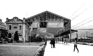 Exposición de arquitectura 'Crisálida de Vapor'. Fotomontaje de la estación de León.
