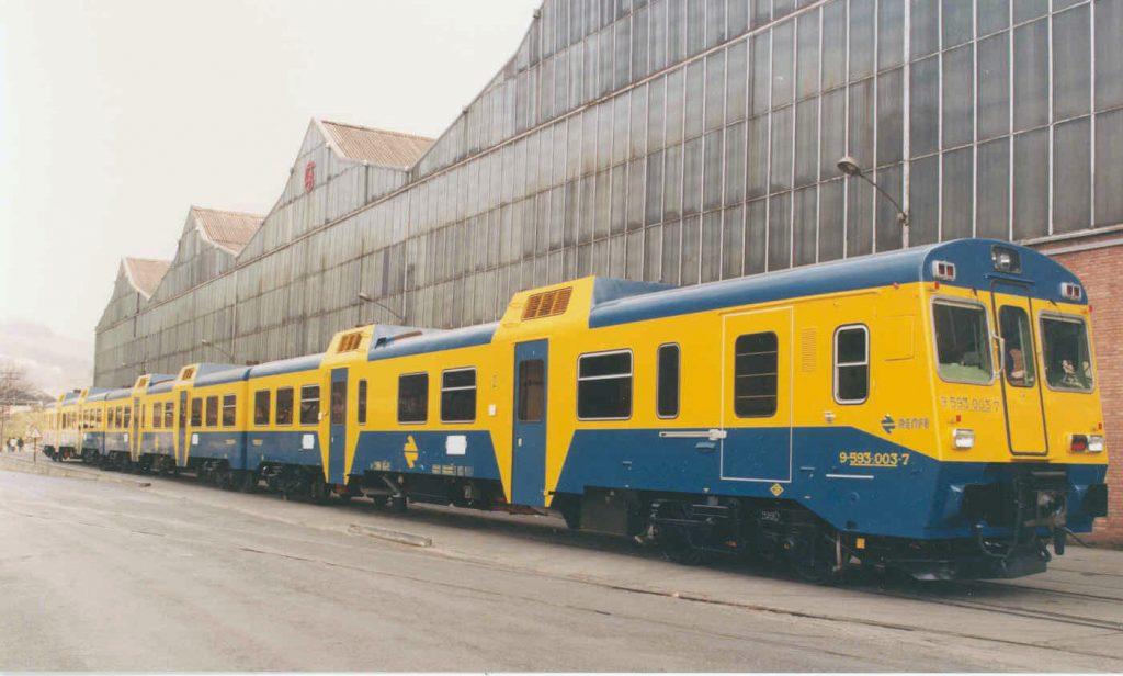 Tren automotor de la serie 593 en la factoría de CAF en Beasain.