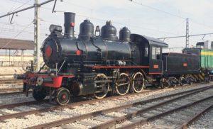 Locomotora de vapor Baldwin custodiada por la AZAFT.